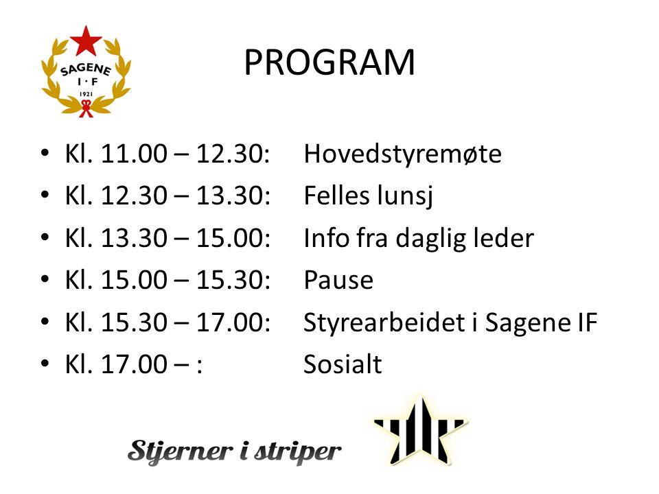 PROGRAM Kl. 11.00 – 12.30: Hovedstyremøte