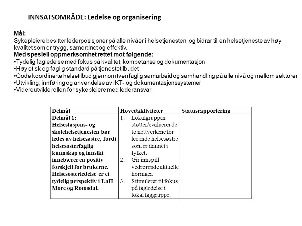 INNSATSOMRÅDE: Ledelse og organisering