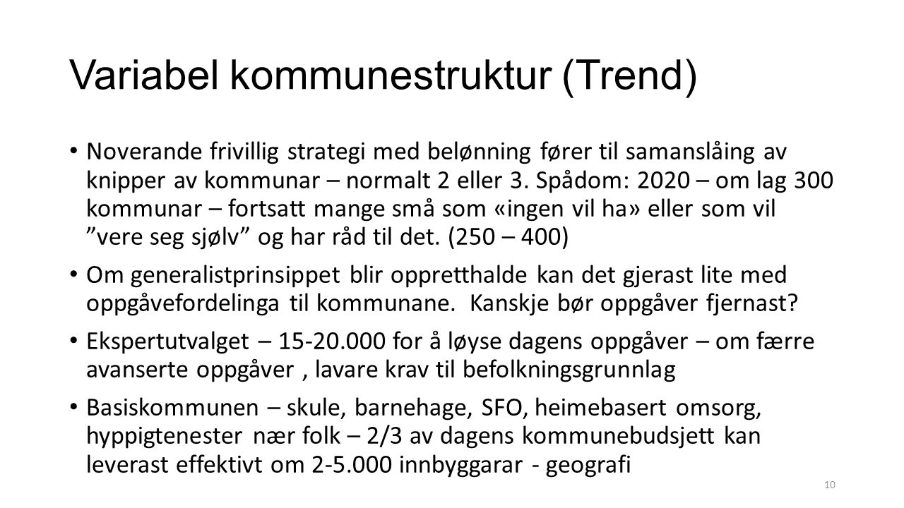 Variabel kommunestruktur (Trend)
