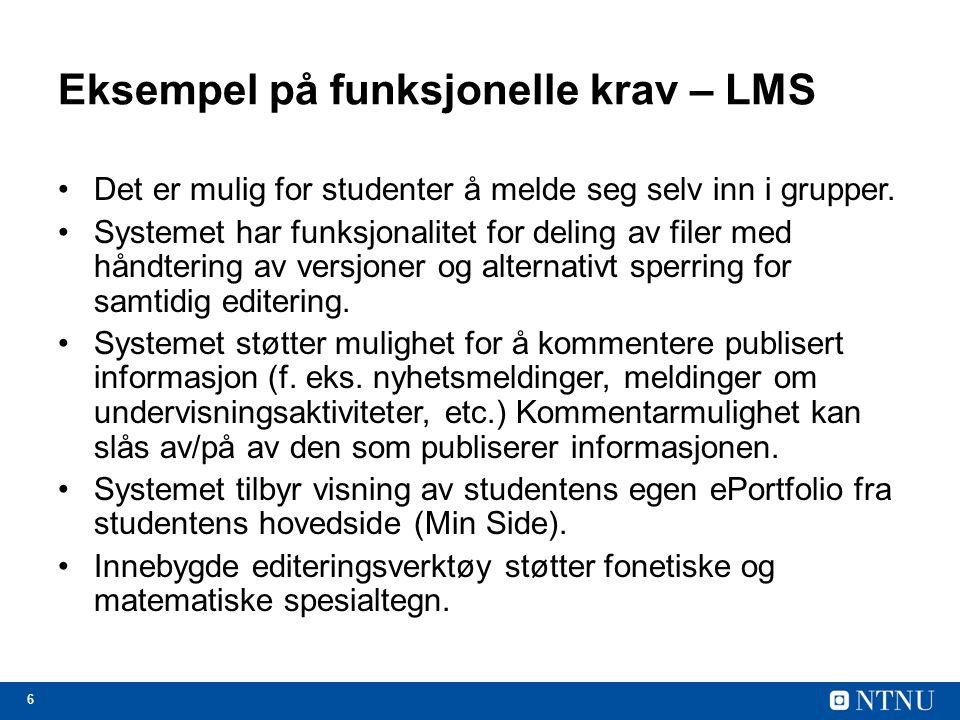 Eksempel på funksjonelle krav – LMS