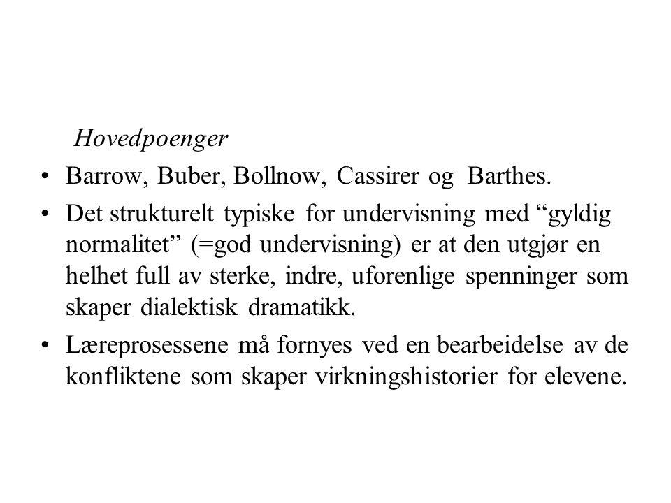 Hovedpoenger Barrow, Buber, Bollnow, Cassirer og Barthes.