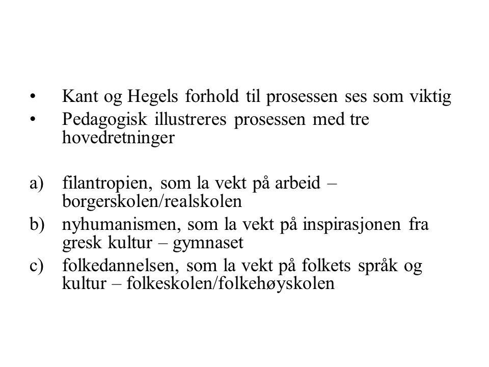 Kant og Hegels forhold til prosessen ses som viktig