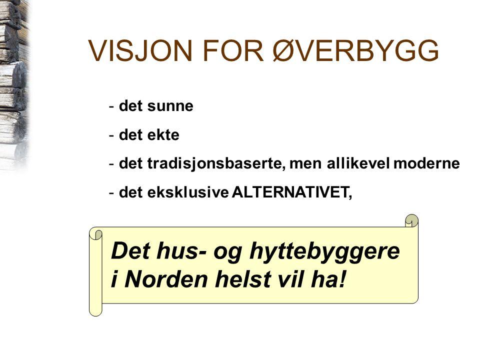 VISJON FOR ØVERBYGG Det hus- og hyttebyggere i Norden helst vil ha!