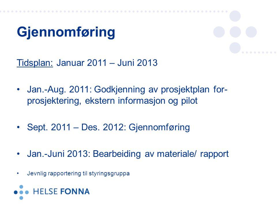 Gjennomføring Tidsplan: Januar 2011 – Juni 2013