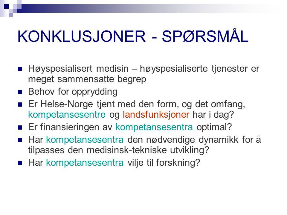 KONKLUSJONER - SPØRSMÅL
