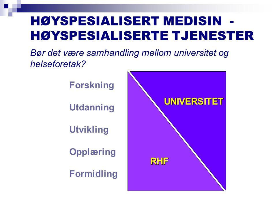 HØYSPESIALISERT MEDISIN - HØYSPESIALISERTE TJENESTER