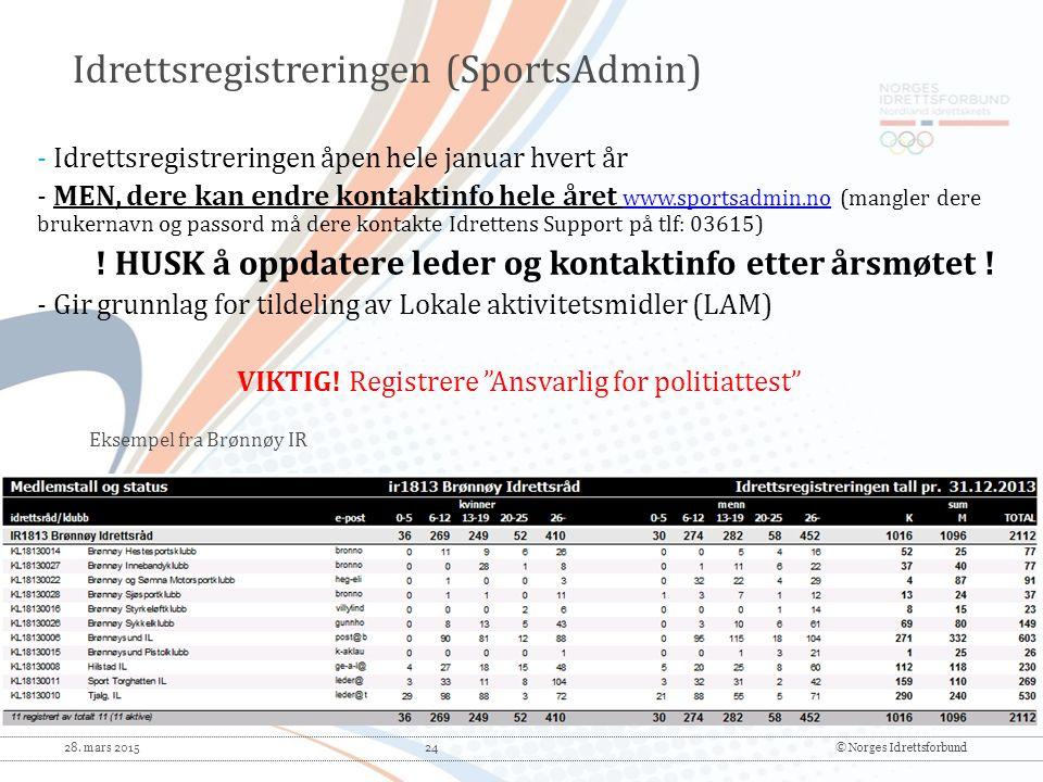 Idrettsregistreringen (SportsAdmin)