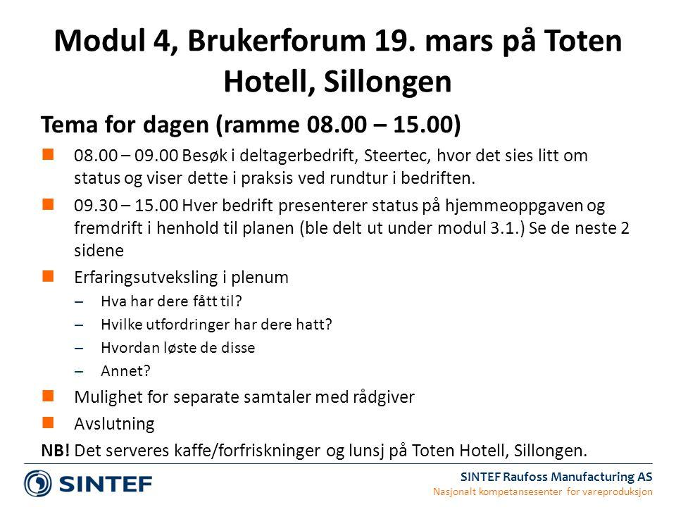 Modul 4, Brukerforum 19. mars på Toten Hotell, Sillongen