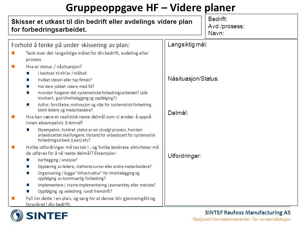 Gruppeoppgave HF – Videre planer