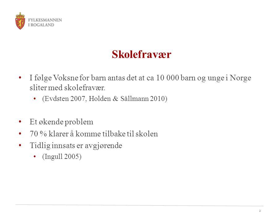 Skolefravær I følge Voksne for barn antas det at ca 10 000 barn og unge i Norge sliter med skolefravær.