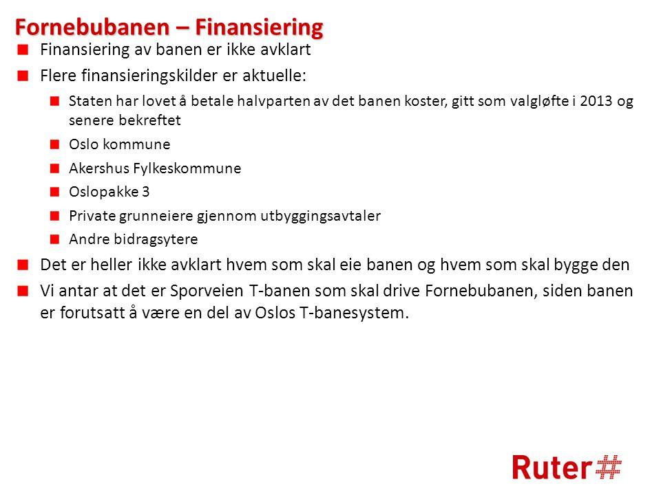 Fornebubanen – Finansiering