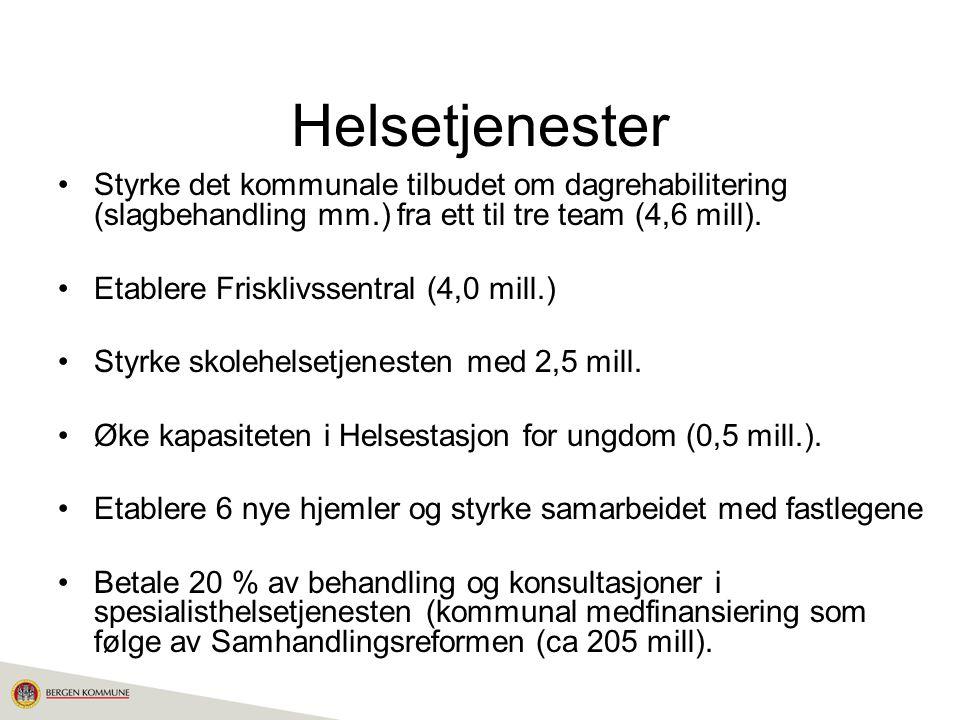 Helsetjenester Styrke det kommunale tilbudet om dagrehabilitering (slagbehandling mm.) fra ett til tre team (4,6 mill).