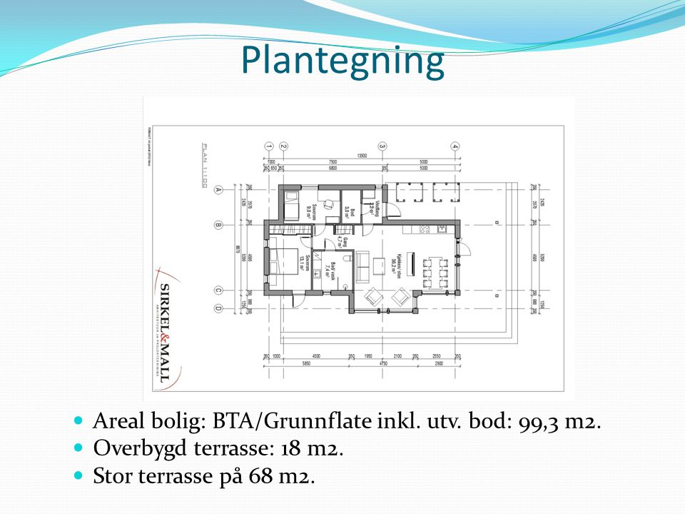 Plantegning Areal bolig: BTA/Grunnflate inkl. utv. bod: 99,3 m2.