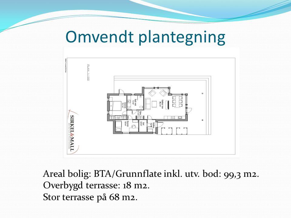 Omvendt plantegning Areal bolig: BTA/Grunnflate inkl. utv. bod: 99,3 m2. Overbygd terrasse: 18 m2.