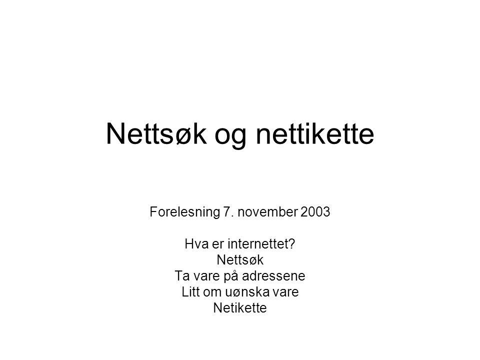 Nettsøk og nettikette Forelesning 7. november 2003 Hva er internettet
