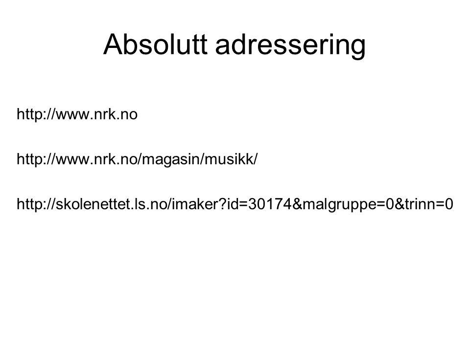 Absolutt adressering http://www.nrk.no
