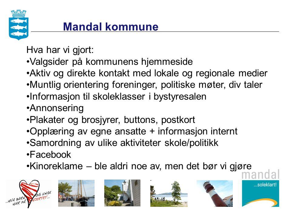Mandal kommune Hva har vi gjort: Valgsider på kommunens hjemmeside