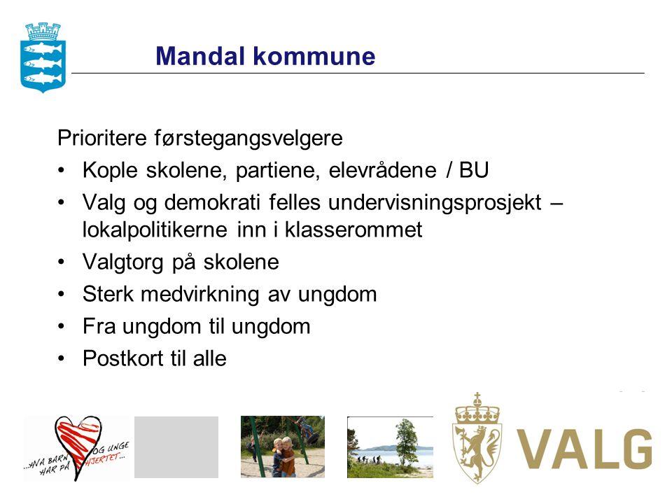Mandal kommune Prioritere førstegangsvelgere