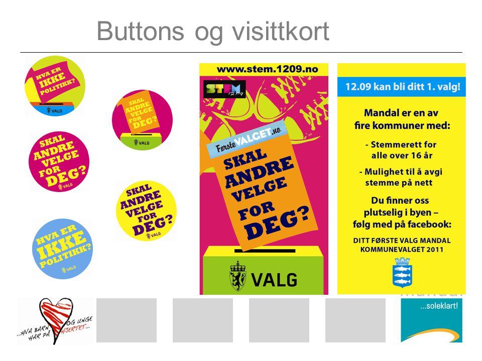 Buttons og visittkort