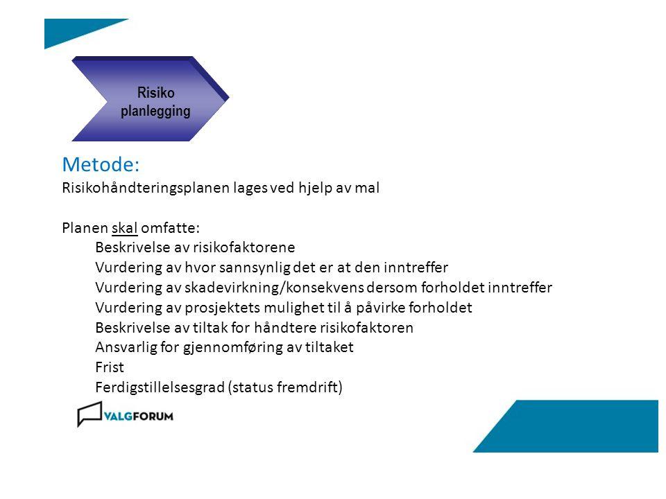 Metode: Risikohåndteringsplanen lages ved hjelp av mal