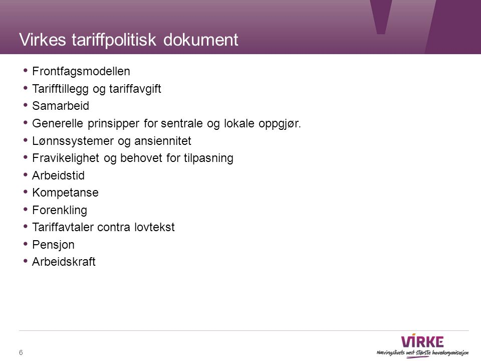 Virkes tariffpolitisk dokument