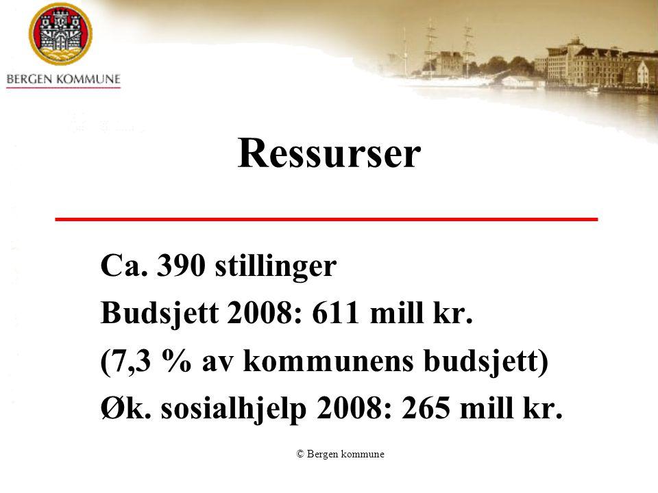 Ressurser Ca. 390 stillinger Budsjett 2008: 611 mill kr.