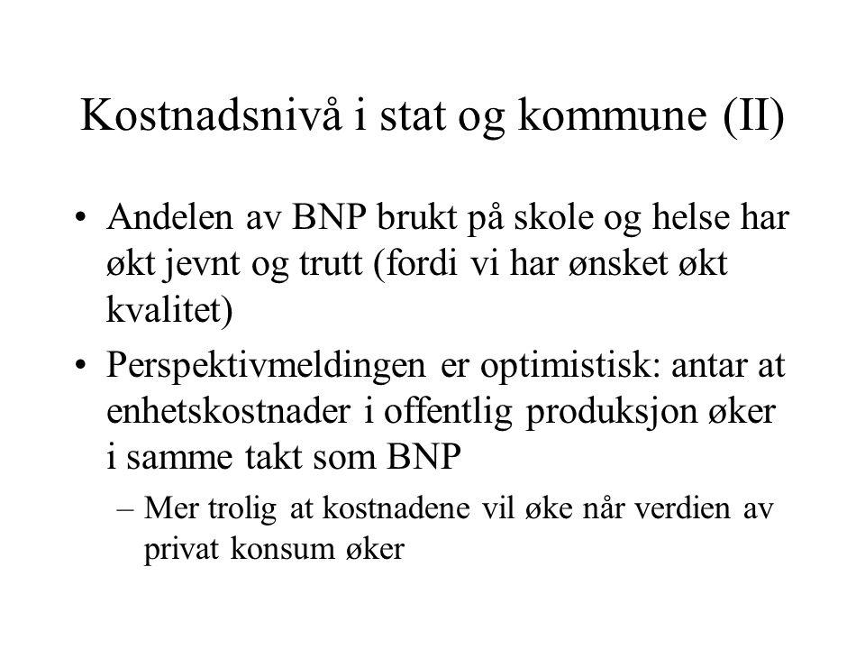 Kostnadsnivå i stat og kommune (II)
