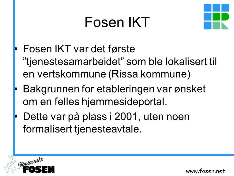 Fosen IKT Fosen IKT var det første tjenestesamarbeidet som ble lokalisert til en vertskommune (Rissa kommune)