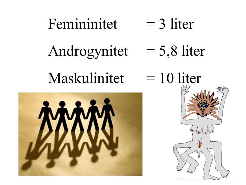 Femininitet = 3 liter Androgynitet = 5,8 liter Maskulinitet = 10 liter