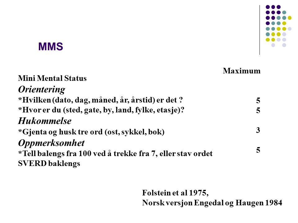 MMS Orientering Hukommelse Oppmerksomhet Maximum Mini Mental Status 5