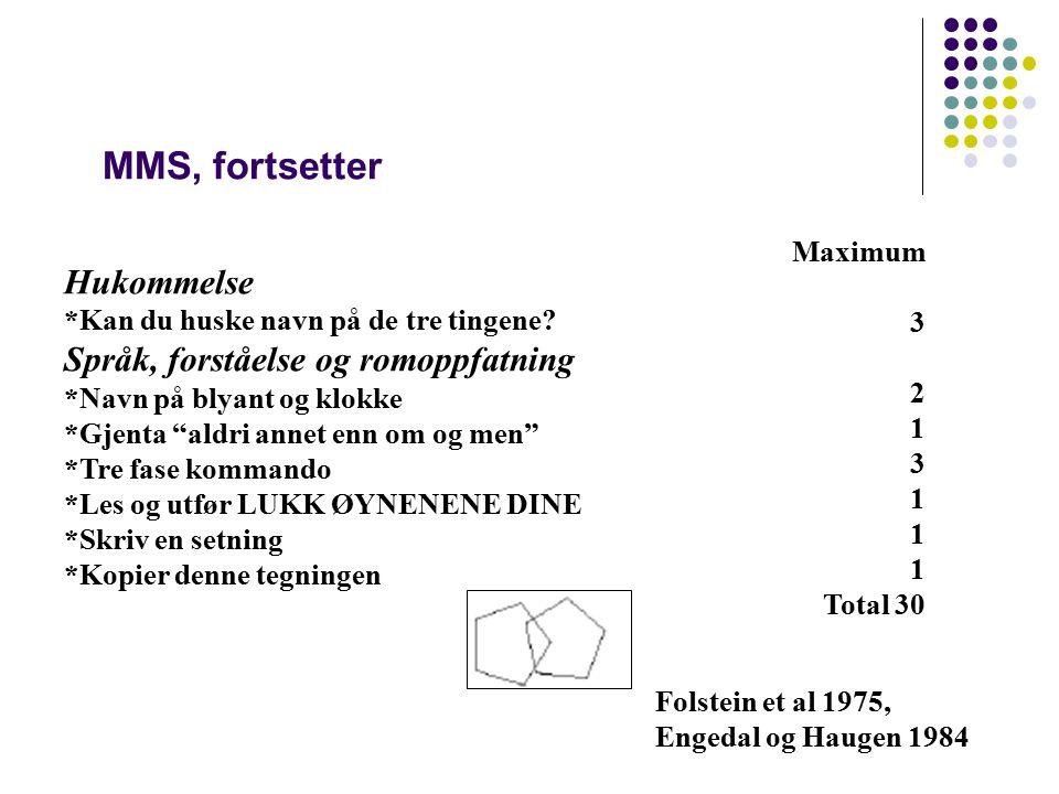 MMS, fortsetter Hukommelse Språk, forståelse og romoppfatning Maximum