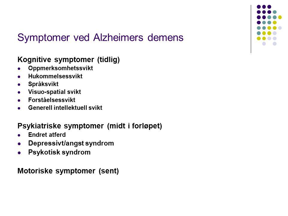 Symptomer ved Alzheimers demens