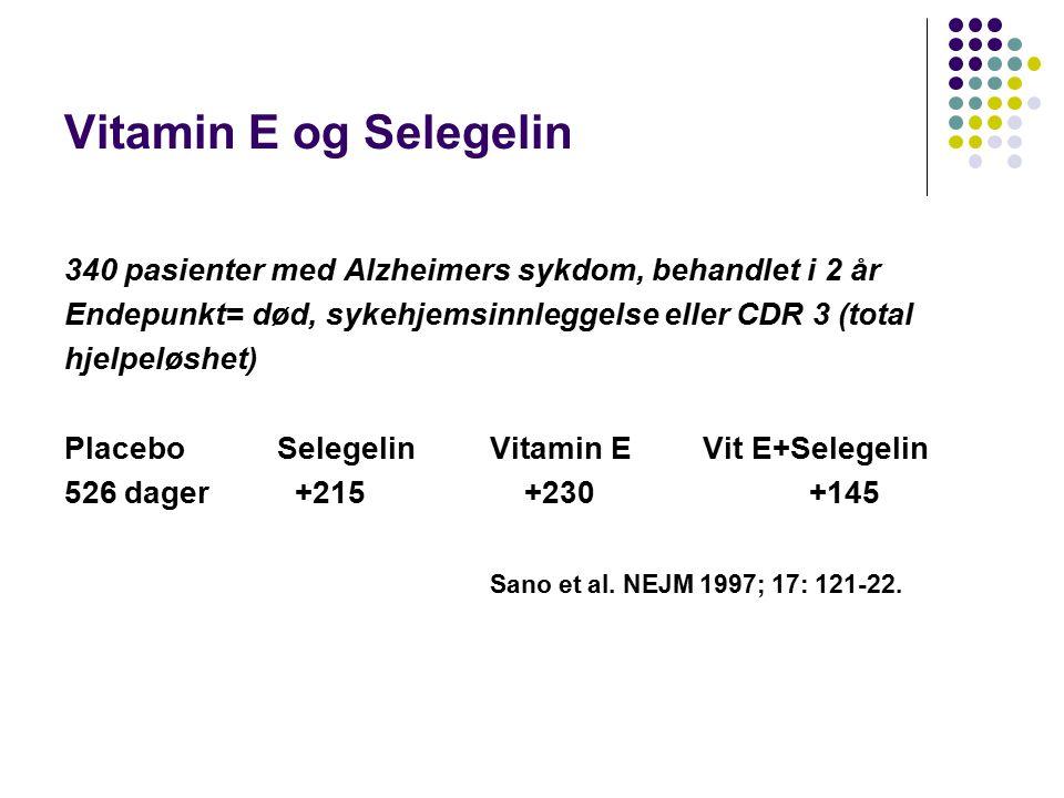 Vitamin E og Selegelin 340 pasienter med Alzheimers sykdom, behandlet i 2 år. Endepunkt= død, sykehjemsinnleggelse eller CDR 3 (total.