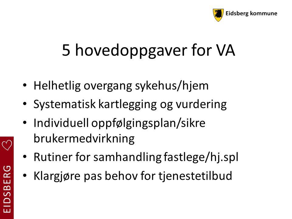 5 hovedoppgaver for VA Helhetlig overgang sykehus/hjem