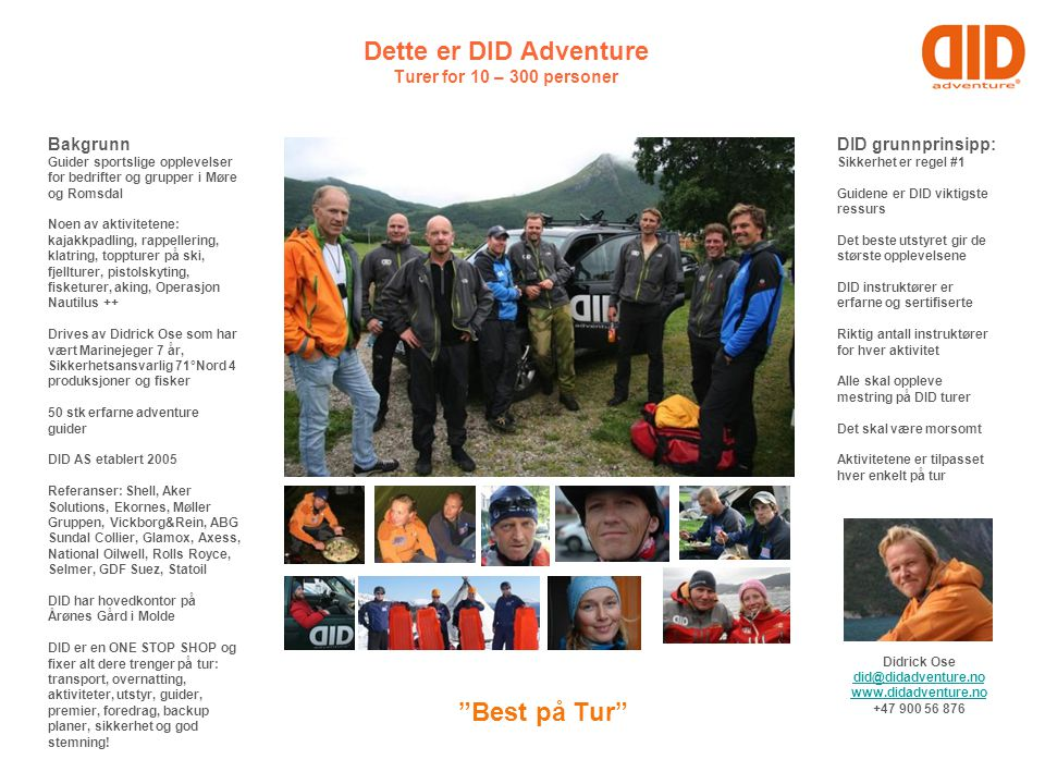 Dette er DID Adventure Turer for 10 – 300 personer