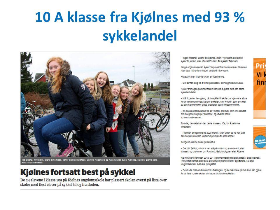 10 A klasse fra Kjølnes med 93 % sykkelandel