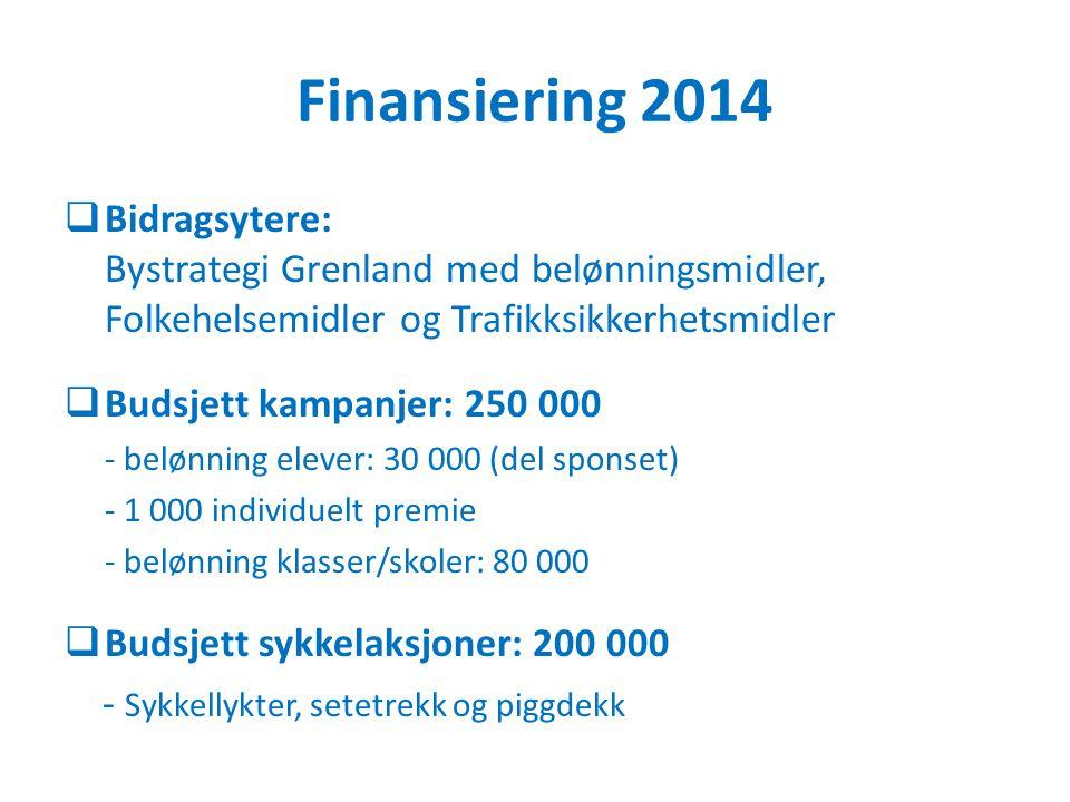 Finansiering 2014 Bidragsytere: Bystrategi Grenland med belønningsmidler, Folkehelsemidler og Trafikksikkerhetsmidler.