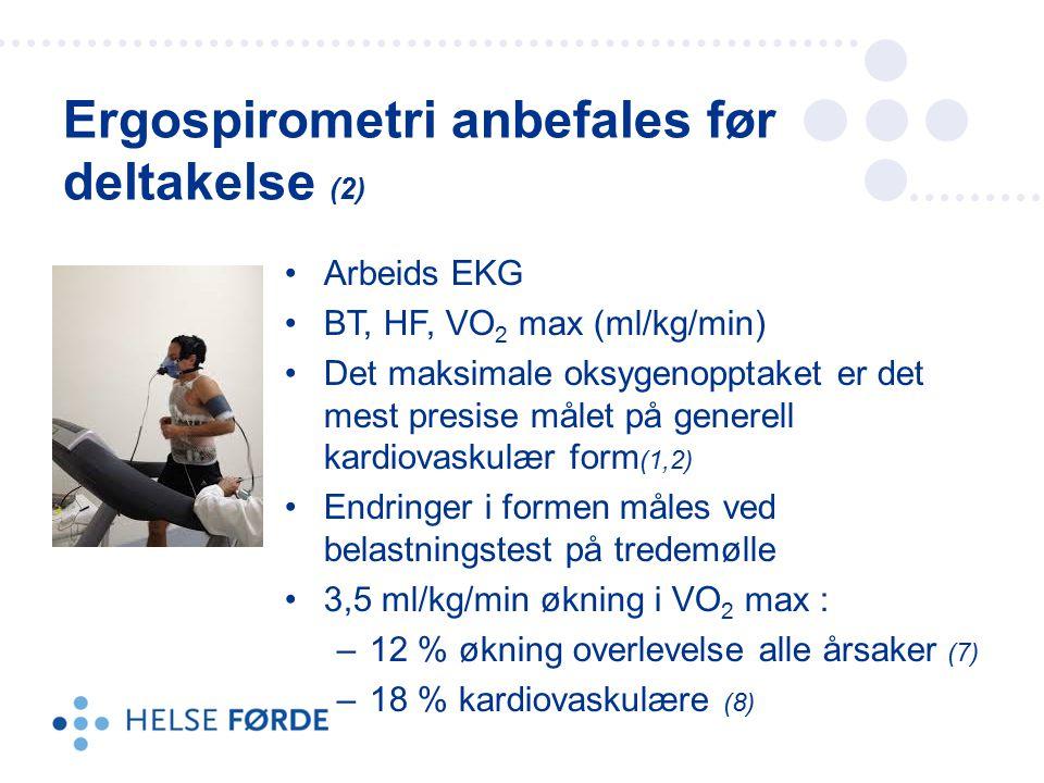 Ergospirometri anbefales før deltakelse (2)