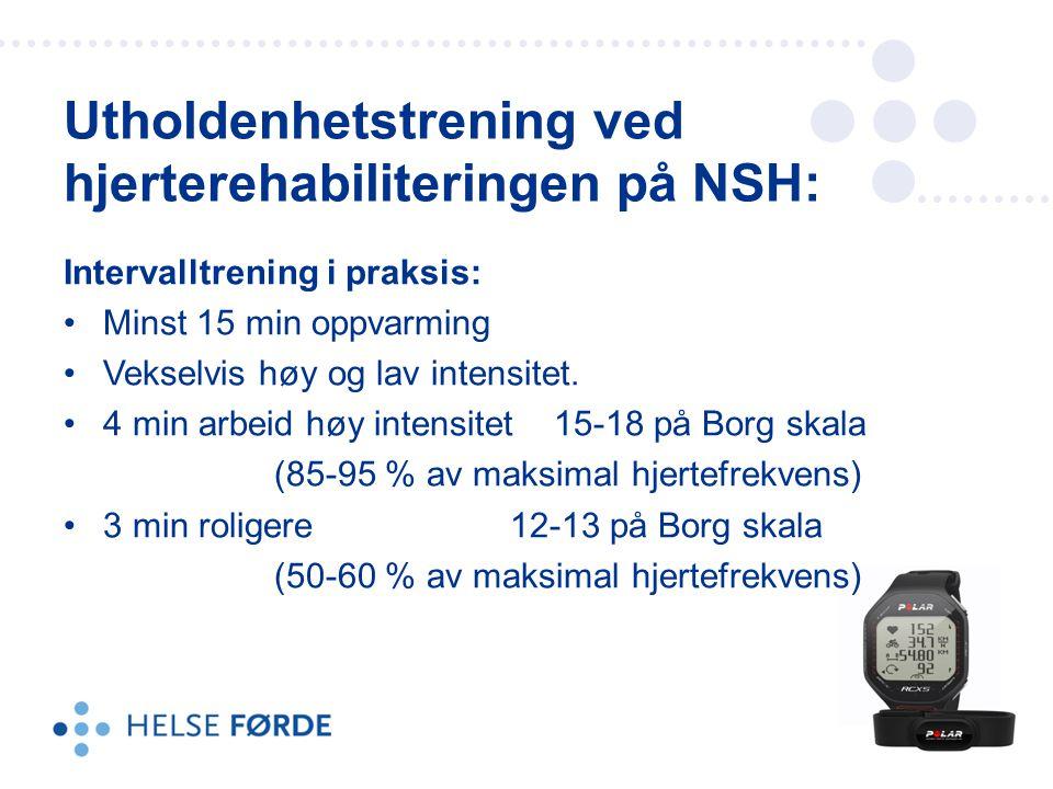 Utholdenhetstrening ved hjerterehabiliteringen på NSH: