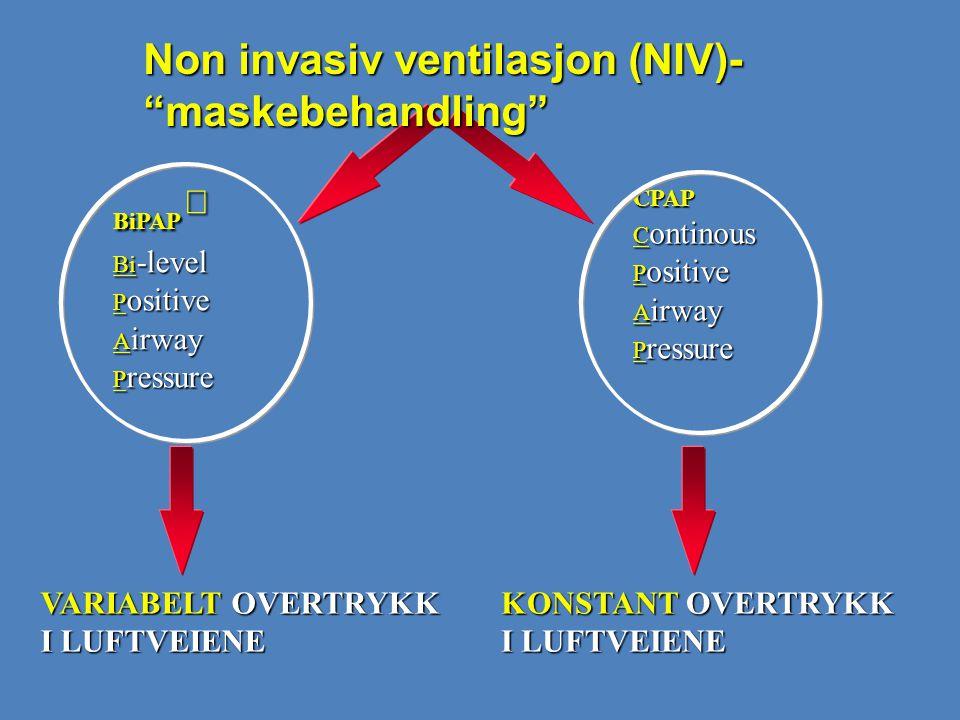 Non invasiv ventilasjon (NIV)- maskebehandling
