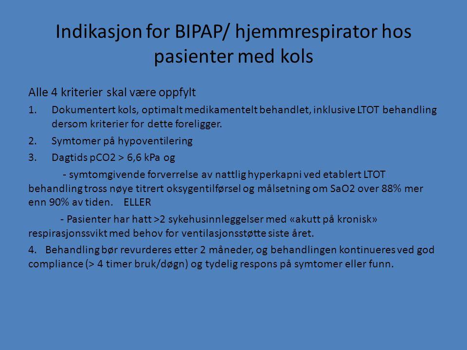 Indikasjon for BIPAP/ hjemmrespirator hos pasienter med kols