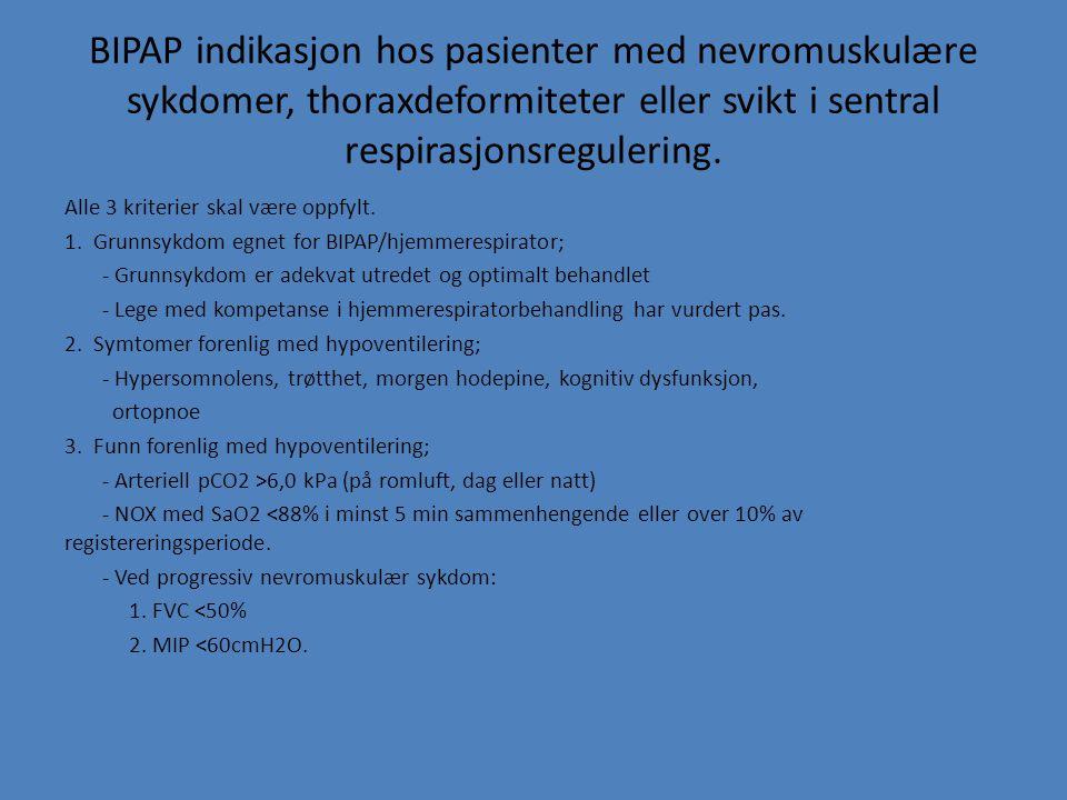 BIPAP indikasjon hos pasienter med nevromuskulære sykdomer, thoraxdeformiteter eller svikt i sentral respirasjonsregulering.