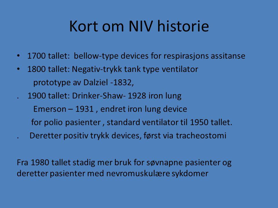 Kort om NIV historie 1700 tallet: bellow-type devices for respirasjons assitanse. 1800 tallet: Negativ-trykk tank type ventilator.