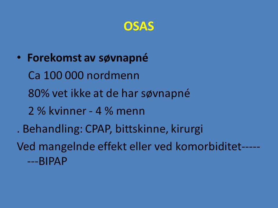 OSAS Forekomst av søvnapné Ca 100 000 nordmenn