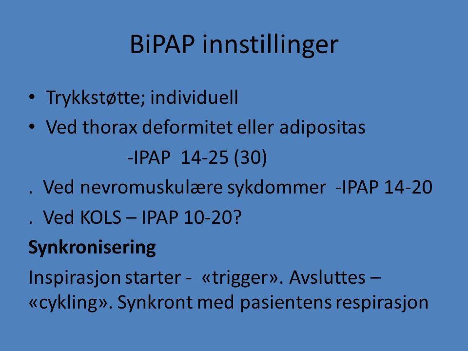 BiPAP innstillinger Trykkstøtte; individuell