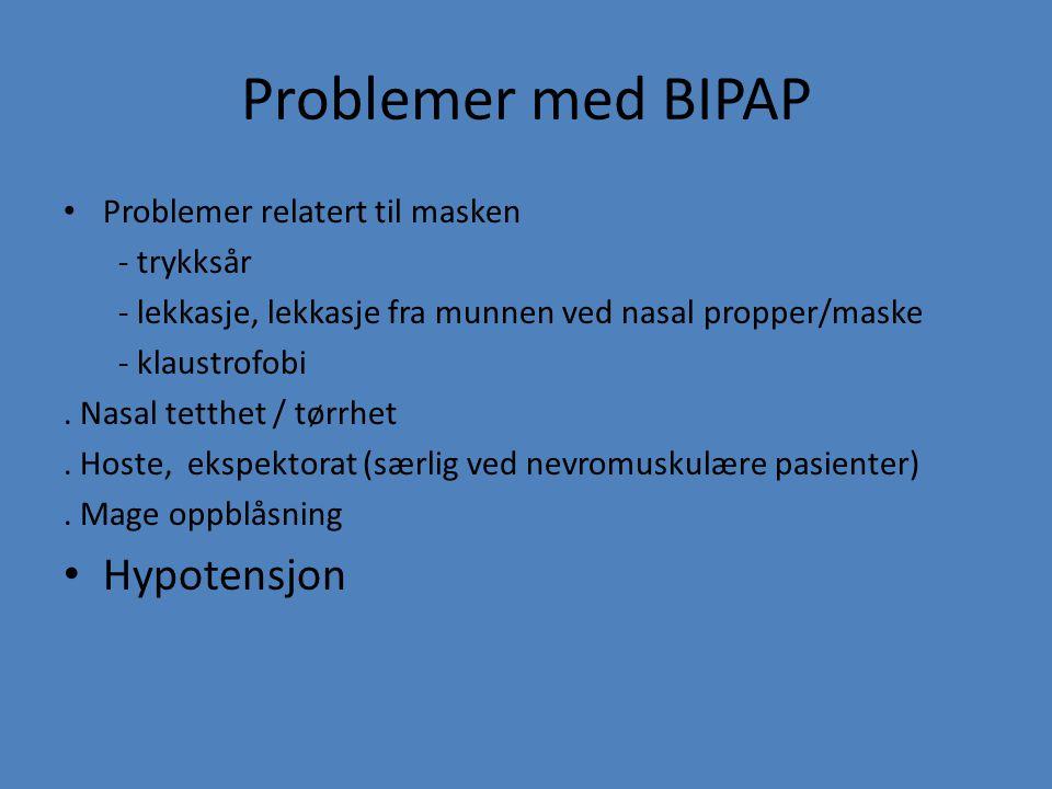 Problemer med BIPAP Hypotensjon Problemer relatert til masken