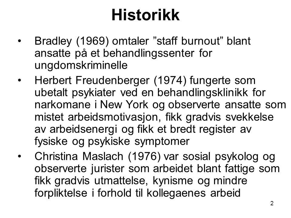 Historikk Bradley (1969) omtaler staff burnout blant ansatte på et behandlingssenter for ungdomskriminelle.