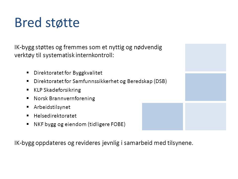 Bred støtte IK-bygg støttes og fremmes som et nyttig og nødvendig verktøy til systematisk internkontroll: