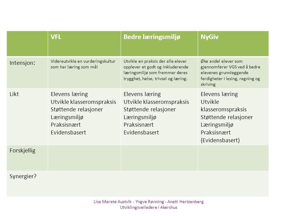 LÆRERPLANEN LK06 VFL Bedre læringsmiljø NyGiv Intensjon: Likt