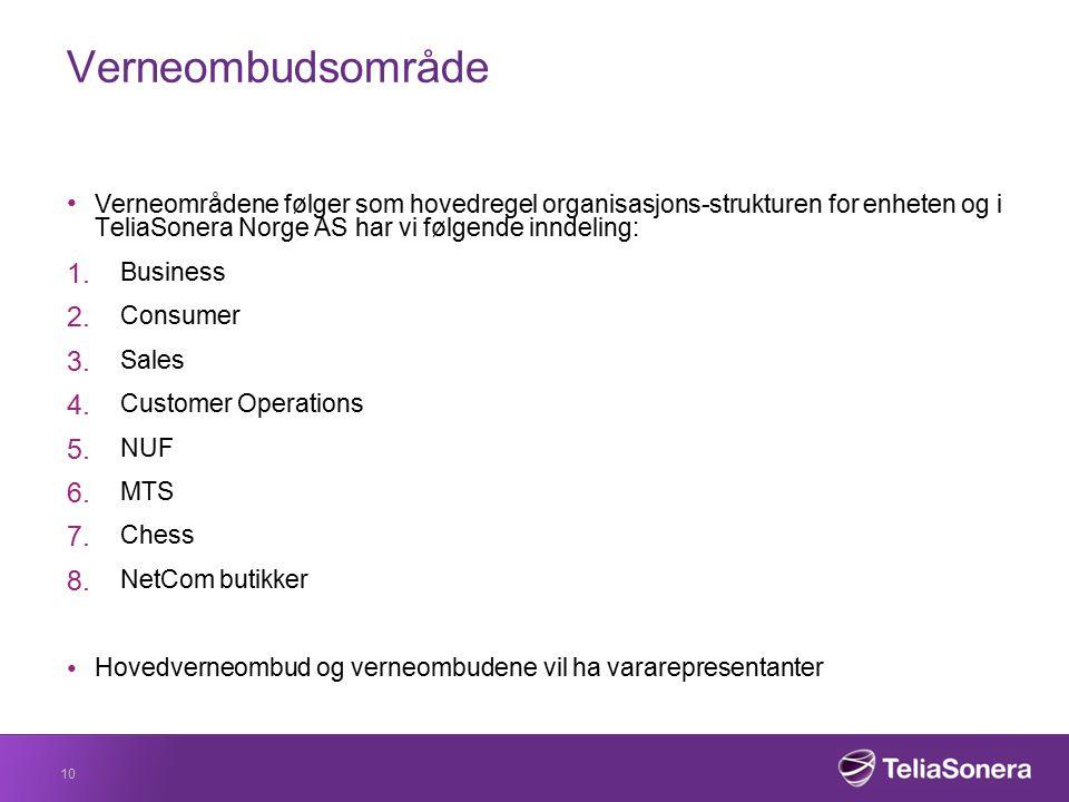 Verneombudsområde Verneområdene følger som hovedregel organisasjons-strukturen for enheten og i TeliaSonera Norge AS har vi følgende inndeling: